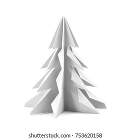 Origami Christmas tree with paper isolated on white background for decoration, front view.