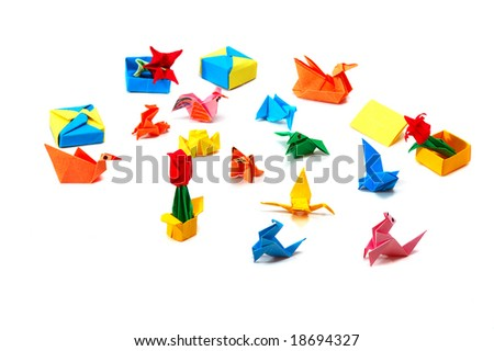 Origami Colorful Paper Things On White Stock Photo Edit Now