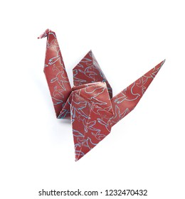 Origami crane isolated on a white background