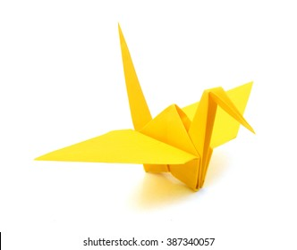 origami crane on white background