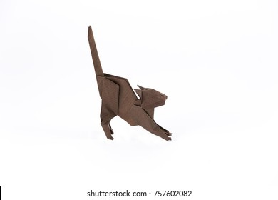 Origami dark cat on white background