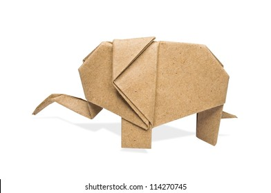 origami elephant recycle paper on a white background,