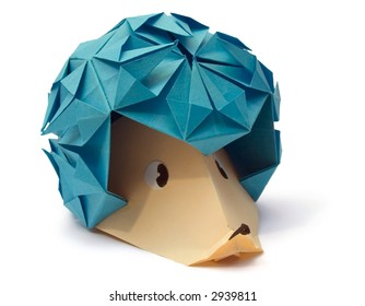 origami figure of hedgehog (isolated on white)