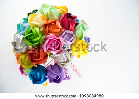 Origami Flower Bouquet Third Angle Stock Photo Edit Now 1098084980