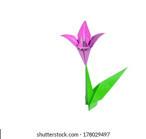 Origami Flower Pink Lily Isolated On White