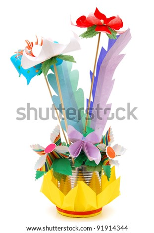 Origami flower vase stock photo edit now 91914344 shutterstock an origami flower vase mightylinksfo