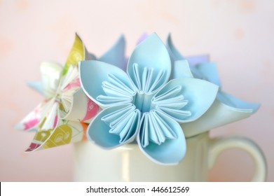 Origami paper flower images stock photos vectors shutterstock origami flower in white ceramic cup mightylinksfo
