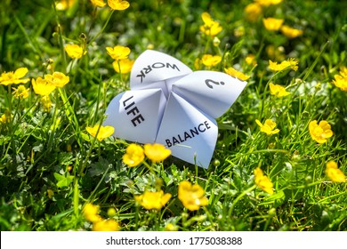 Origami fortune teller on vacation in a meadow concept for work life balance choices