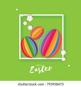 Origami Happy Easter Greeting card. Three Colorful Paper cut Easter Egg, white flower. Square frame. Green background.  illustration.