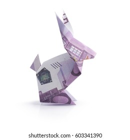 origami hare from banknotes