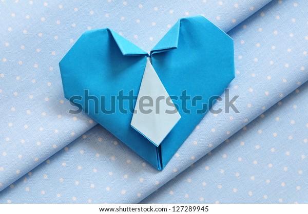 DIY Suited shirt & tie Heart | Origami easy | 418x600