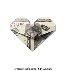 origami heart of banknotes
