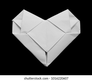 origami heart paper on black background
