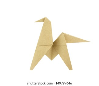 Origami Horse Recycle Paper Isolated On White Background