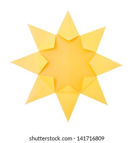 Origami hot summer yellow paper sun on a white background