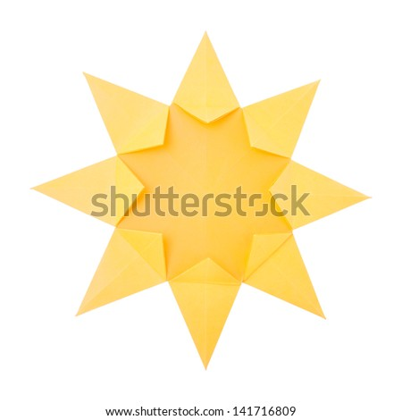 Origami Hot Summer Yellow Paper Sun Stock Photo Edit Now 141716809