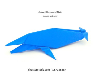 Origami Humpback Whale Isolated On White Background