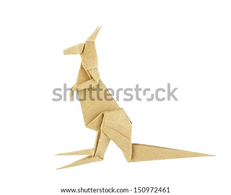 Origami Kangaroo Recycle Paper Isolated On Stock Photo Edit Now