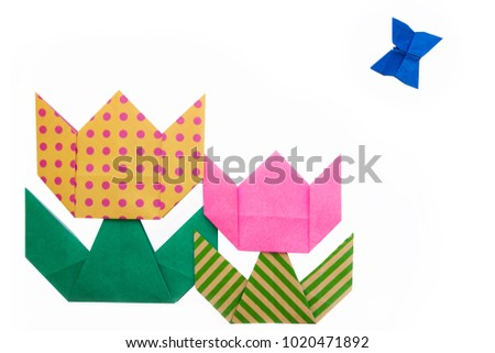 Origami Kids Colorful Tulip Flower One Stock Photo Edit Now