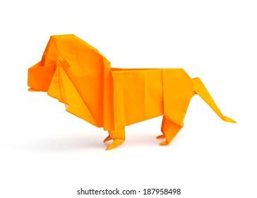 Origami lion isolated on white background
