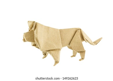 Origami Lion Recycle Paper Isolated On White Background