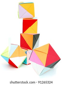 A origami paper blocks on tower