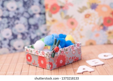 Origami paper box with crafts material