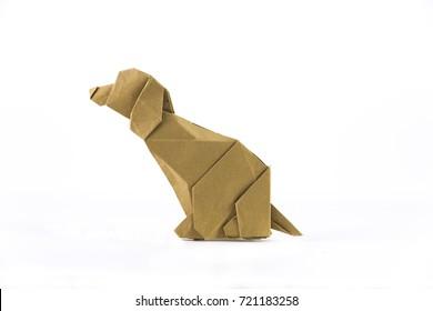 origami paper dog on white background