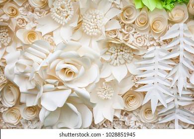 Origami paper flower background.