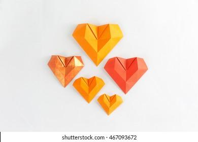 Origami paper hearts geometric volume