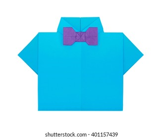 Origami paper men's blue shirt with event violet bow tie on a white background