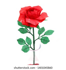 98fd8aa0c ORIGAMI PAPER RED ROSE with green leaf for love concepts of Valentine's day  Holidays on White
