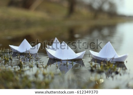 Origami Paper Ship Sailing River Paper Stock Photo Edit Now