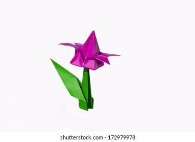 Origami yellow flower tulip isolated on stock photo edit now origami pink flower tulip isolated on white mightylinksfo