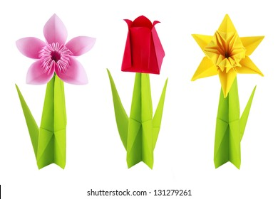 Origami spring flowers set on a white background