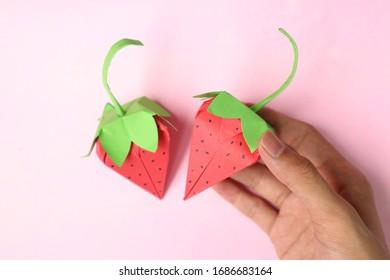 Origami Strawberry fruit paper cute