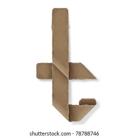 origami style alphabet letters. high resolution on white background. t