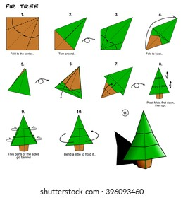 Origami Traditional Fir Tree Diagram Instructions Steps Paper Folding Art