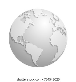 Origami white paper world globe. 3d illustration global earth map, origami planet sphere