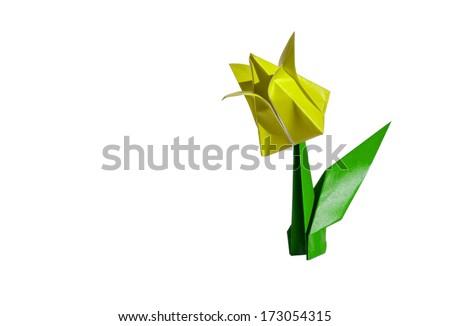 Origami yellow flower tulip isolated on stock photo edit now origami yellow flower tulip isolated on white mightylinksfo