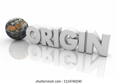 Origin World First Beginning Starting Life Word 3d Render Illustration