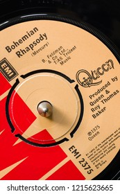 An original 1975 copy of the song Bohemian Rhapsody by the band Queen written by Freddie Mercury it became one of the best selling singles of all time Wrexham United Kingdom - October 29 2018:
