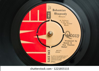 An original 1975 copy of the song Bohemian Rhapsody by the band Queen written by Freddie Mercury it became one of the best selling singles of all time Wrexham United Kingdom - October 29 2018