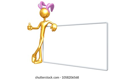The Original 3D Character Illustration With A Bunny Ears Headband