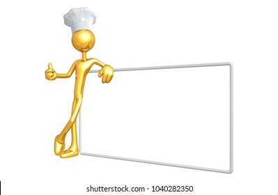The Original 3D Character Illustration Chef With A Blank Sign