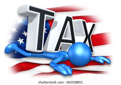 The Original 3D Character Illustration Crushed Under The Word Tax