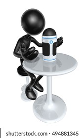 The Original 3D Character Illustration With Digital Personal Assistant
