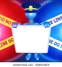 The Original 3D Character Illustration Police Officer With A Blank Sign