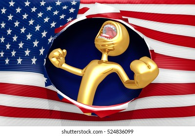 The Original 3D Character Illustration With Screaming With American Flag