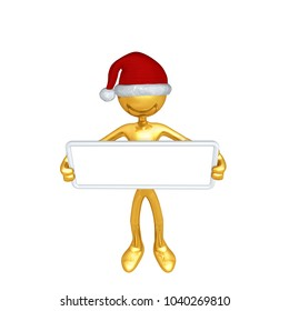 The Original 3D Character Illustration Wearing A Santa Hat With A Blank Sign